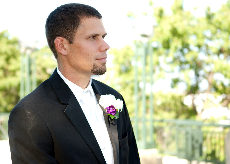 Photo of groom awaiting the arrival of his bride at O'Donnell Park in Milwaukee.
