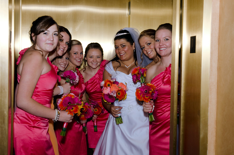Bridal party photo in the elevator of the Rotunda Waukesha.