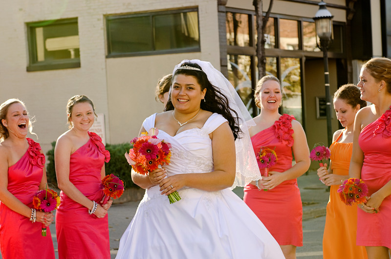 Bridal party photo in the streets of Downtown Waukesha.