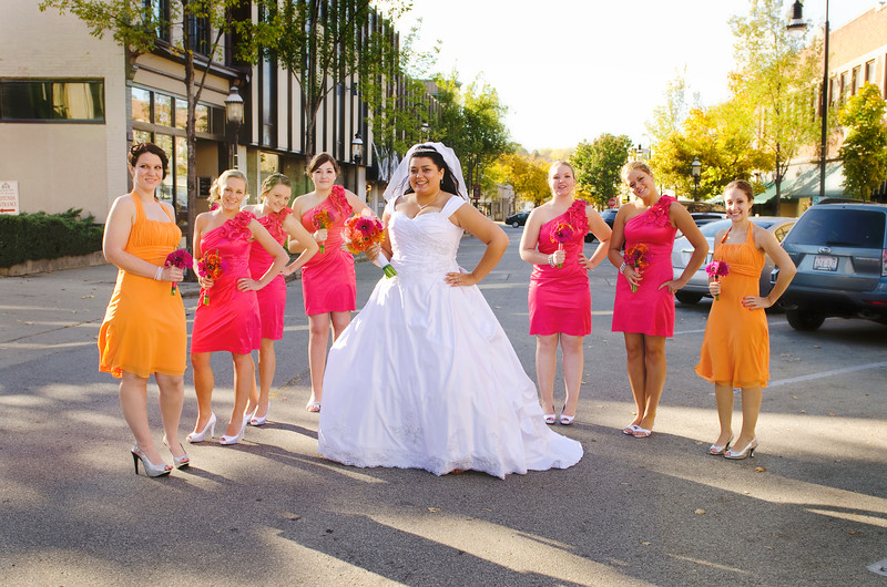 Wedding party photo in the streets of Downtown Waukesha.