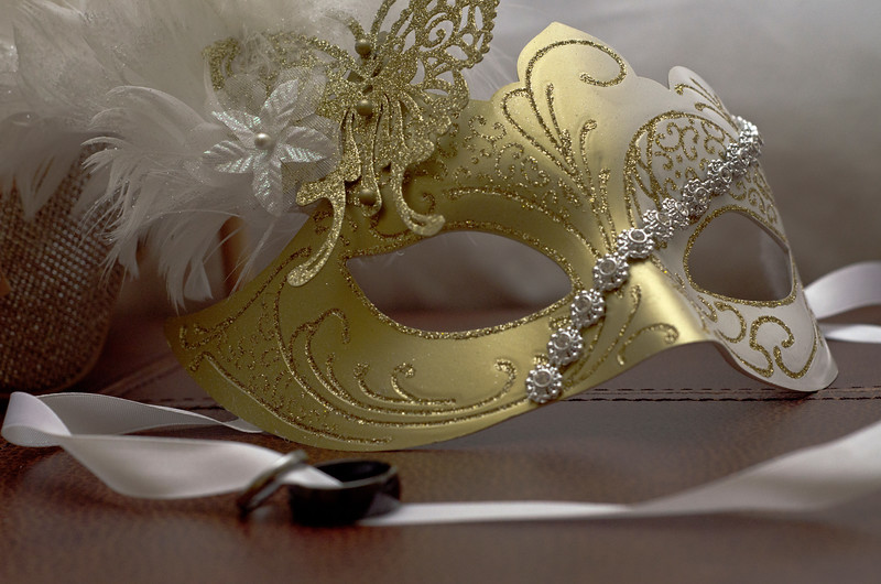 Beautiful masquerade mask worn by bride in Milwaukee,
