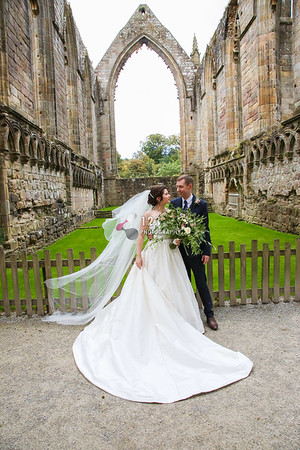 Emily and Matthew's wedding photography Bolton Abbey Church and Devonshire Arms
