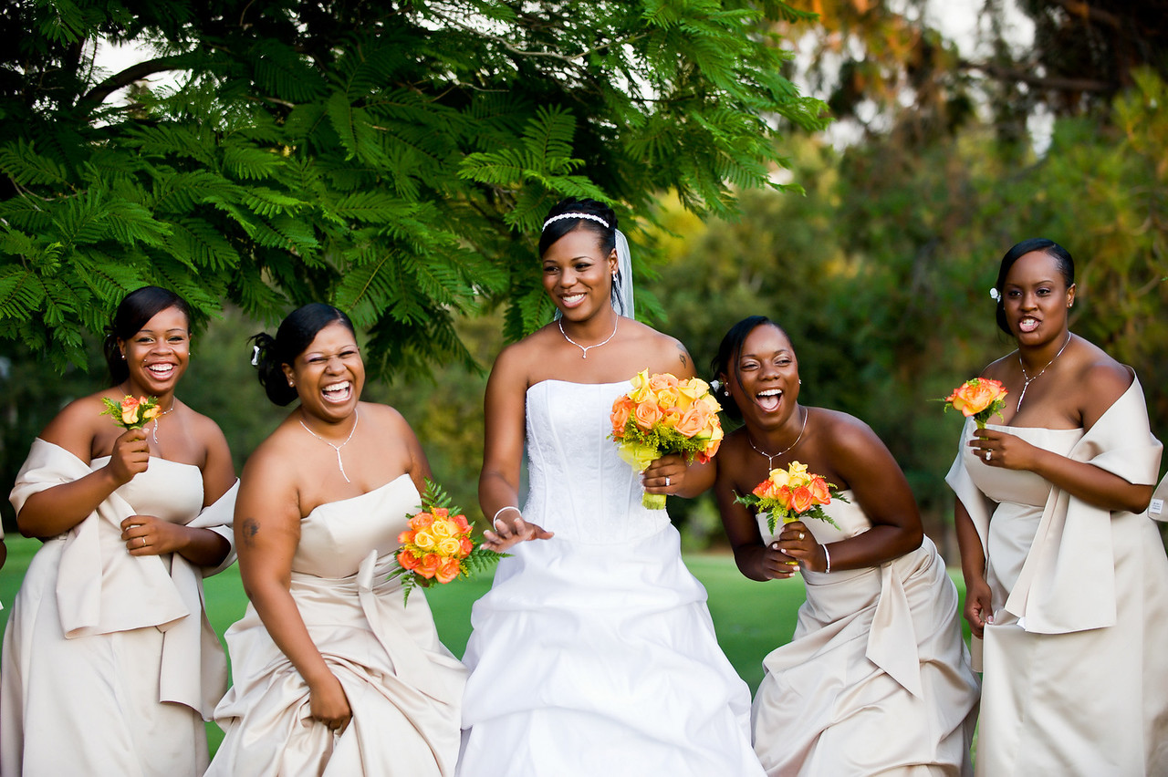 Orange bridesmaid bouquets