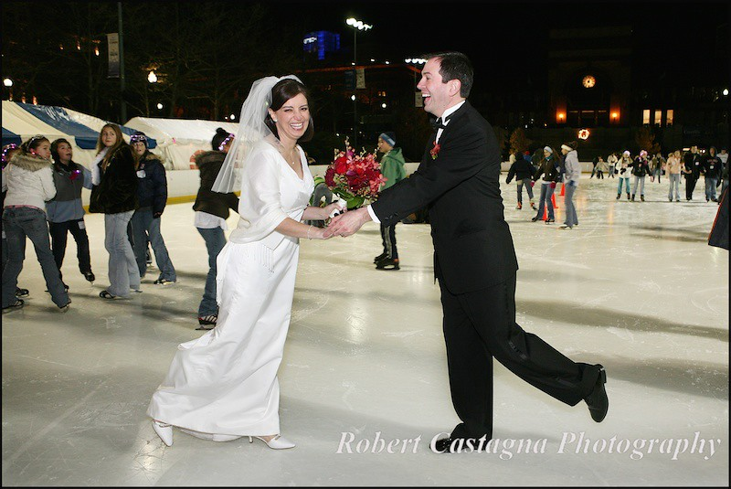 Winter wedding ice skating