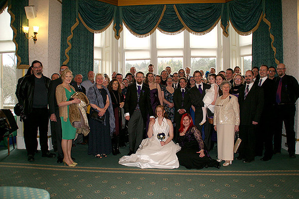 People!<br /> <br /> (The bride achieves not looking freakishly tall through cunning and guile. Or something.)