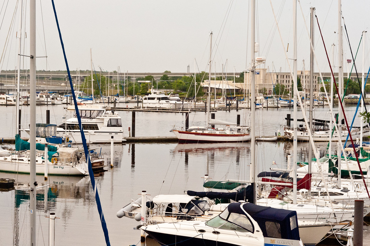 Sailboats in the harbor outside the Hilton Riverside in New Bern, NC