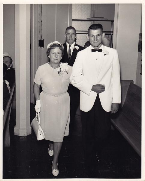Edna Miller with brother of Louise (Lynn Mayer)<br /> LaVerne Miller in back
