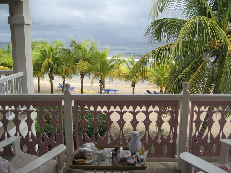 Breakfast, balcony, and beach.