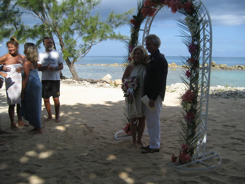 Sandy and Gary's wedding ceremony on January 2nd, 2010.  In the background, you can see Eddie  and his wife, Bonnie (in the blue sarong).  Eddie witnessed our marriage for us.
