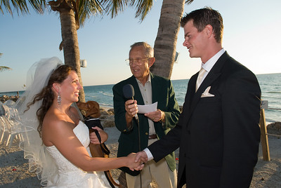 """Leah, Ian & Onyx say """"I Do"""" & arf!  Reverend Charlie is performing the ceremony."""