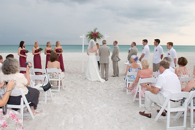 "Jo & Giles say ""I do"" at the Sandbar on Anna Maria Island."