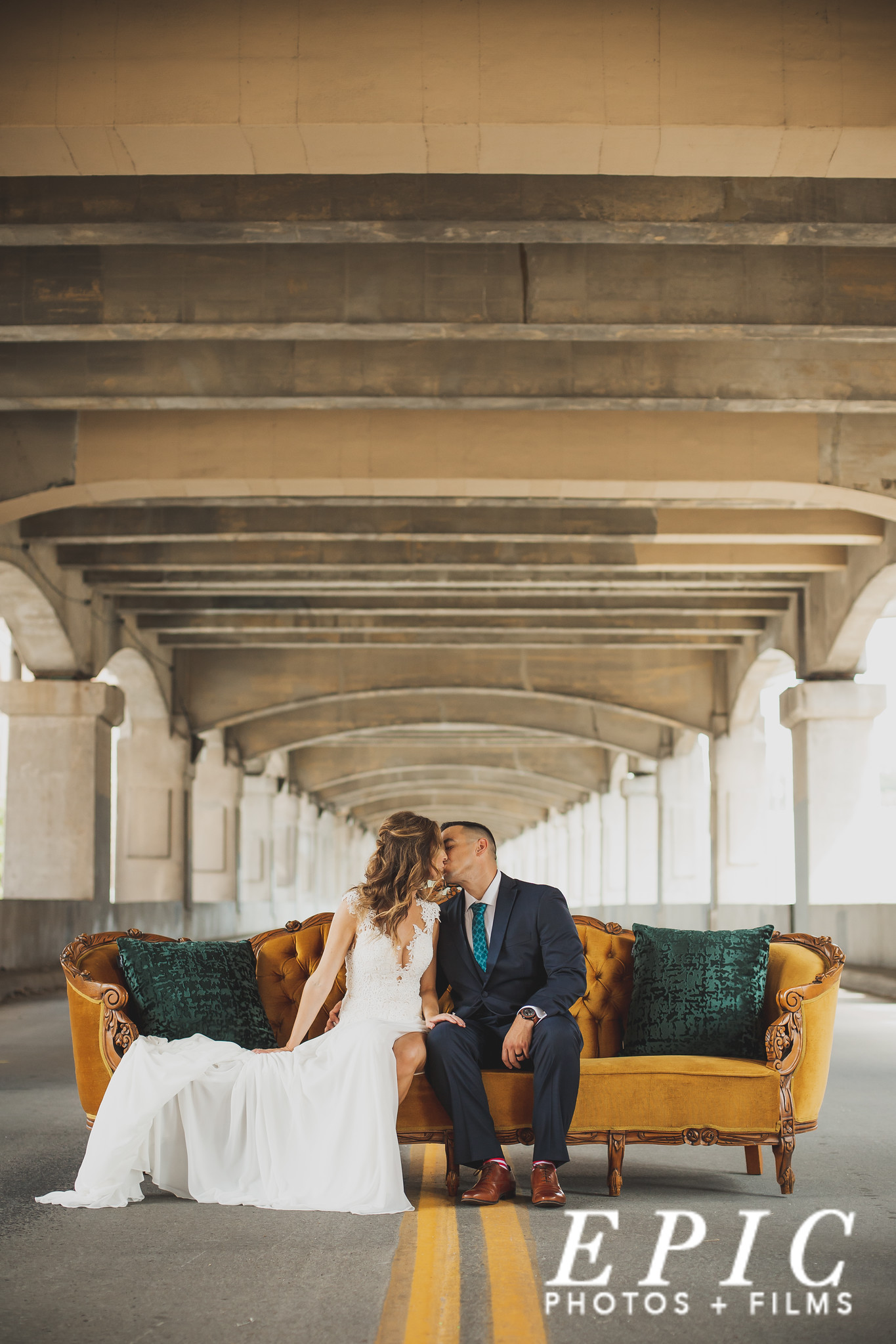 Bride and groom portrait on 12th street bridge in Kansas City, MO
