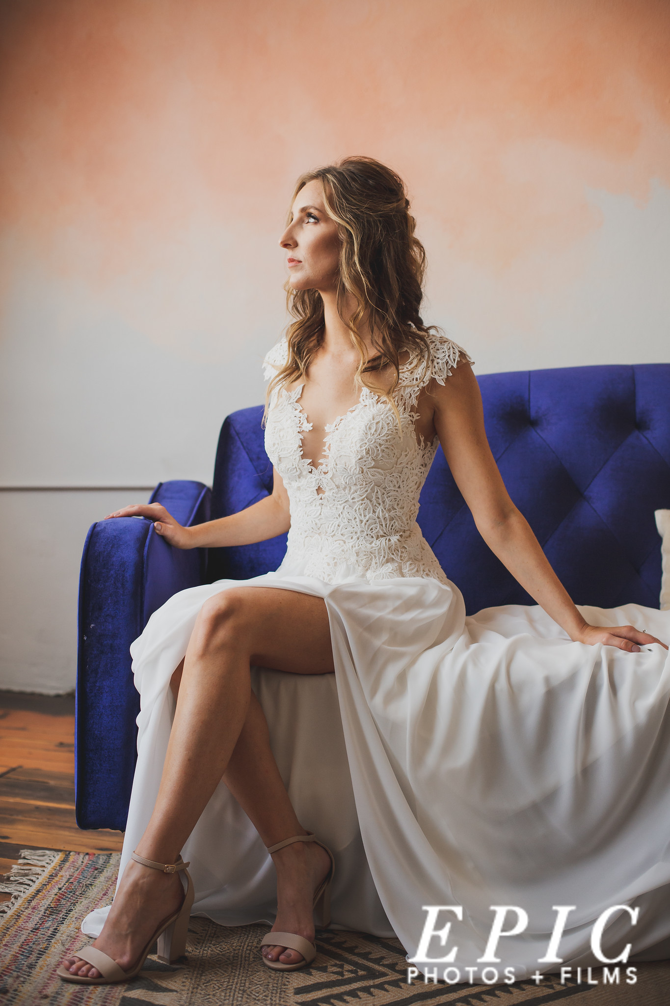 Bridal portrait on couch at Foundation Event Space