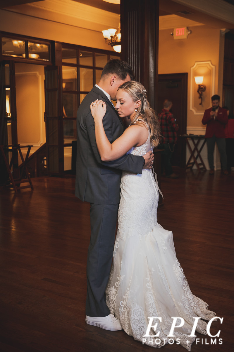 Bride and groom sharing their first dance at Loose Mansion