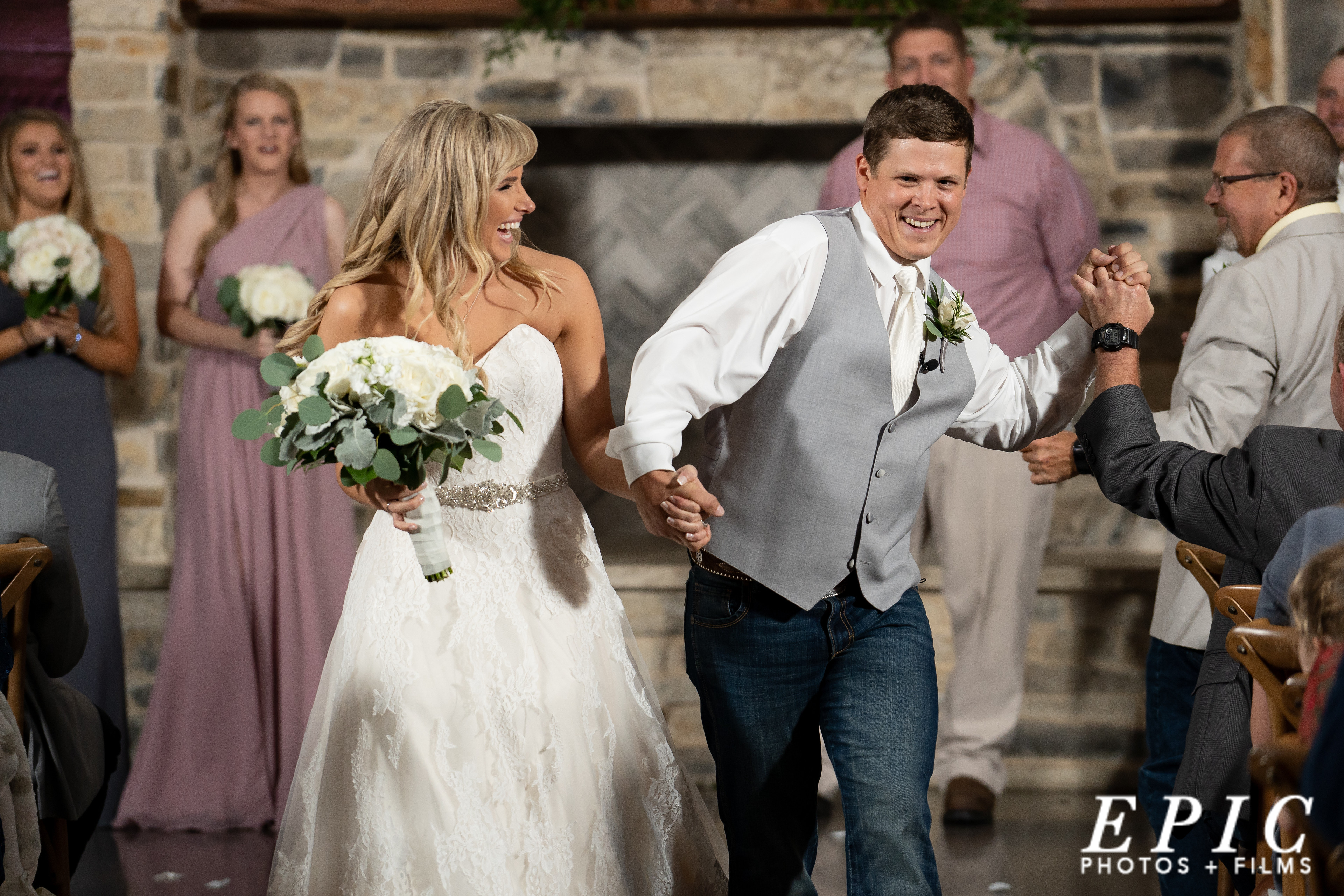 bride and groom recessional at Stone Crest