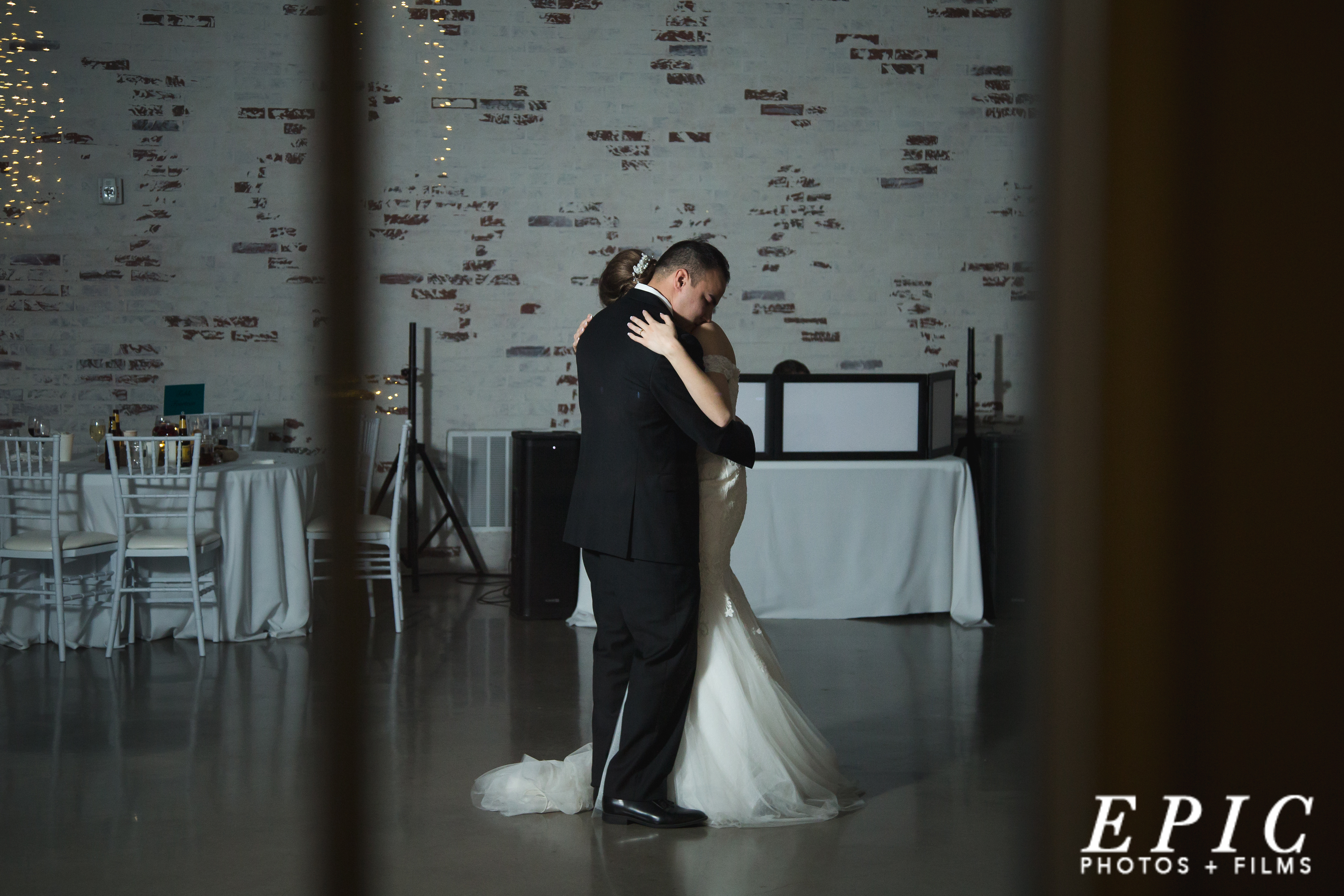 bride and groom share a private dance at Firefly Gardens after their guests have left
