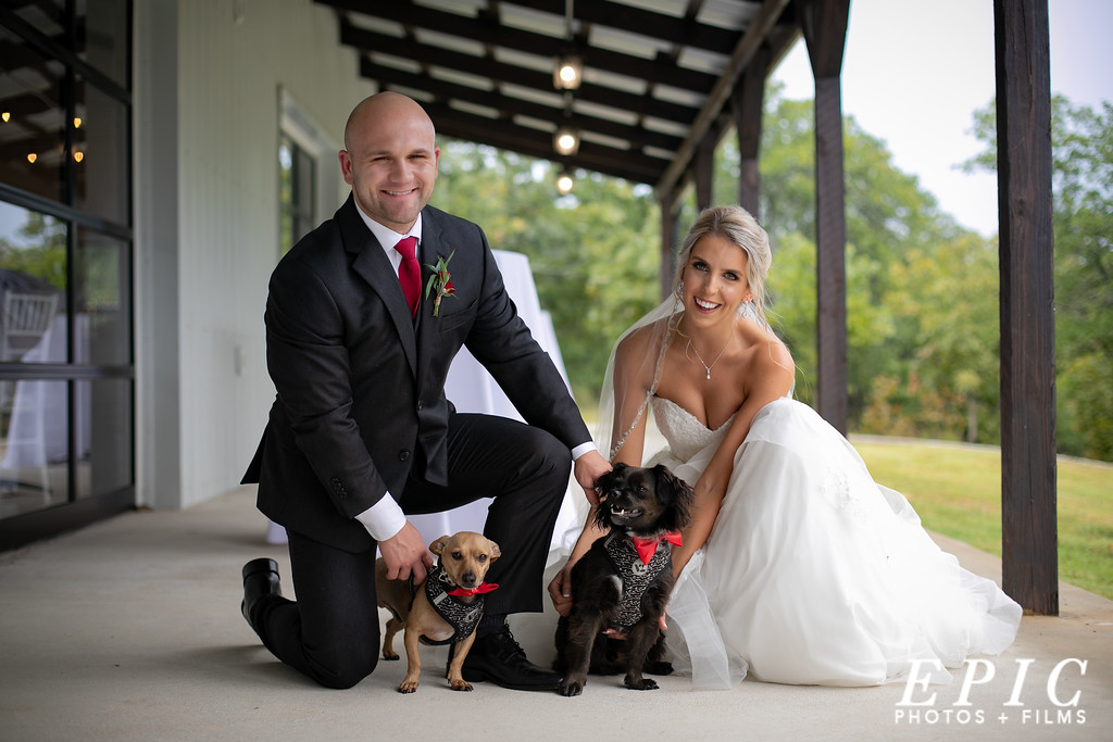 Bride and groom pose with their puppies on the back porch of dream point ranch