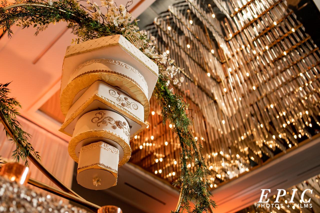 Classy wedding cake hung upside down
