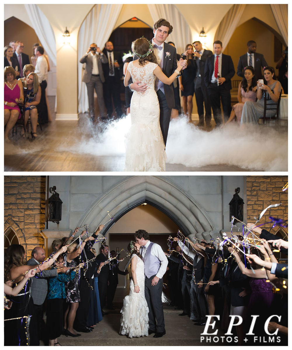 collage of two photos from a wedding at the Castle at Rockwall