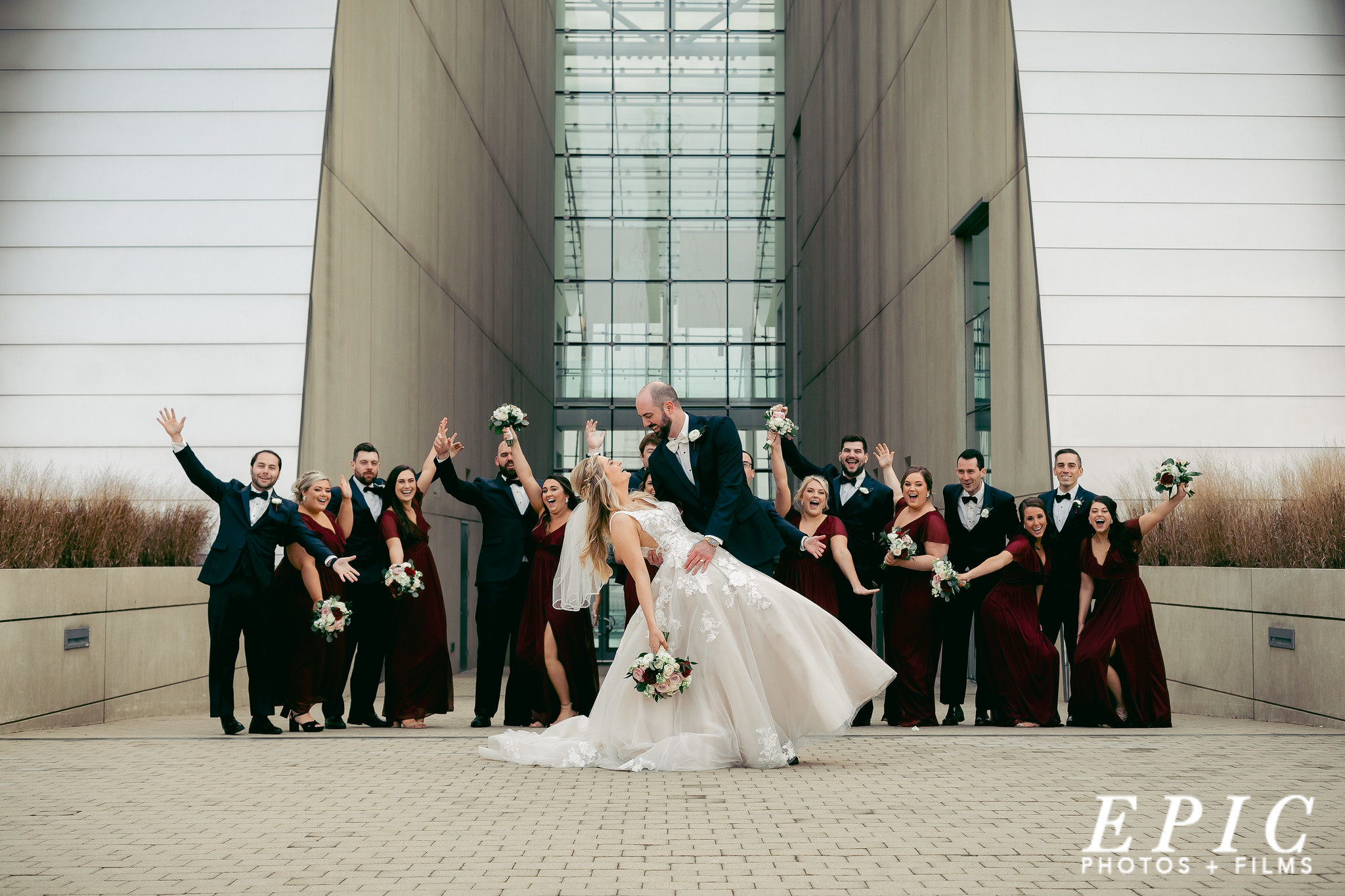 Wedding party photo in front of the Kauffman in Kansas City