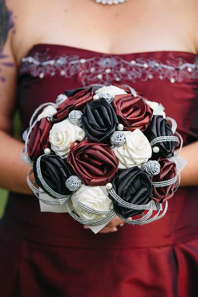 Red & Black Rose Bridal Bouquet