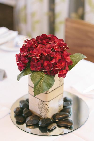 Red Hydrangea Centerpiece