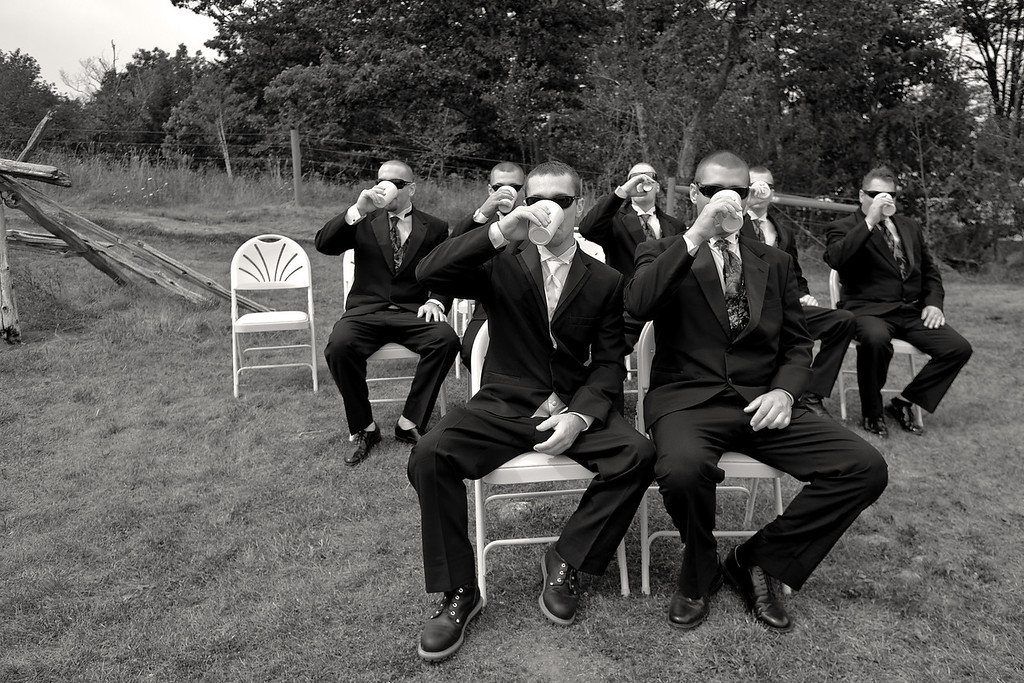 Meanwhile, Evan and the guys were patiently waiting for the ceremony to begin...