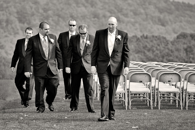 The groom and groomsmen were dressed to the nines for a 4PM tee time.