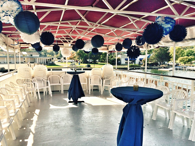 Upper deck of the Duchess for a rehearsal dinner.  Fontana Municipal Pier