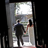 The bride and groom exiting the church