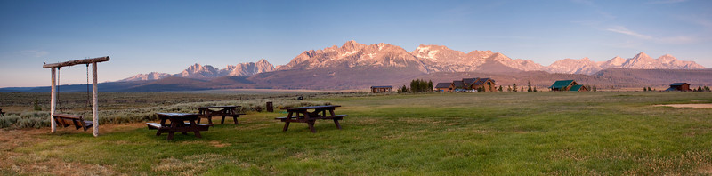 Panorama of Pioneer Park in Stanley Idaho the morning of Mark and Kate's wedding. Photo: Mike Leeds.