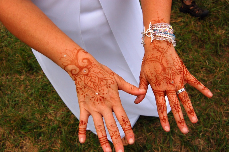 The bride's henna tattoos.