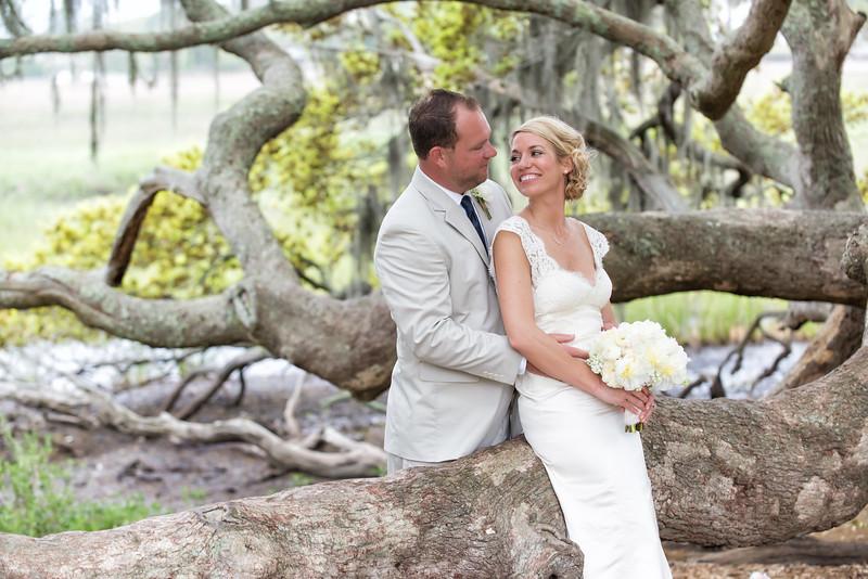 Bridge and groom on ancient oak tree, Boone Hall