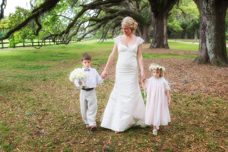 Bride, ring bearer and flower girl, Boone Hall