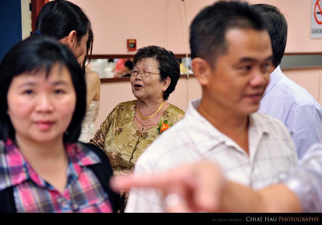 Grandma gretting the guest