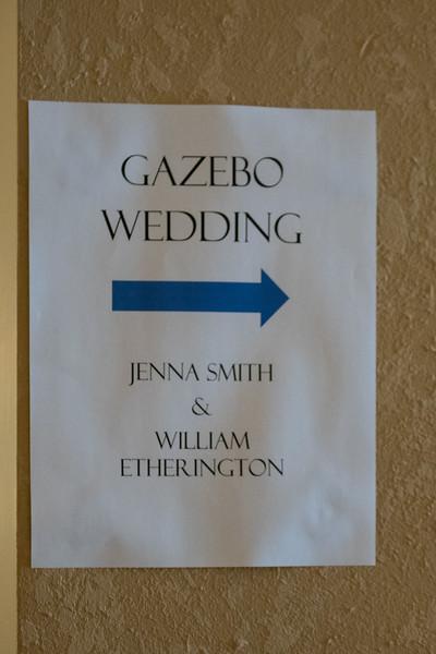 Sign pointing to Gazebo wedding of William Etherington and Jenna Smith.