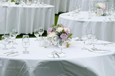Floral arrangement on table at wedding.