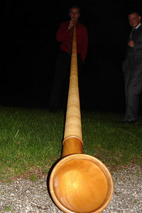 Rob playing the Alpine Horn - Murten, Switzerland ... March 3, 2007 ... Photo by Emily Conger