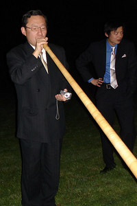 I don't think Papa ever thought he would be playing an Alpine Horn at Yasuko's wedding as she grew up - Murten, Switzerland ... March 3, 2007 ... Photo by Rob Page III