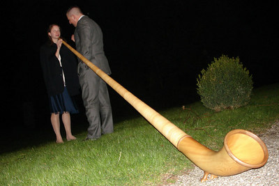 Emily learning how to play the Alpine Horn - Murten, Switzerland ... March 3, 2007 ... Photo by Rob Page III