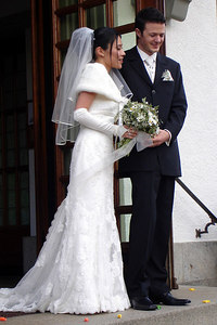 The happy couple emerges from the church - Fribourg, Switzerland ... March 3, 2007 ... Photo by Rob Page III