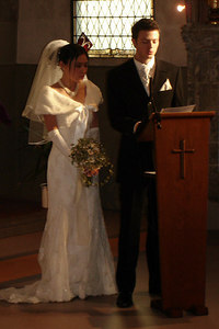 Yasuko and Nicolas say a few words after the ceremony - Fribourg, Switzerland ... March 3, 2007 ... Photo by Rob Page III