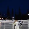 Twilight Wedding portraits of Bride & Groom - Big White Happy Valley Skating Rink
