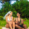 newlywed couple in hawaii with ukulele