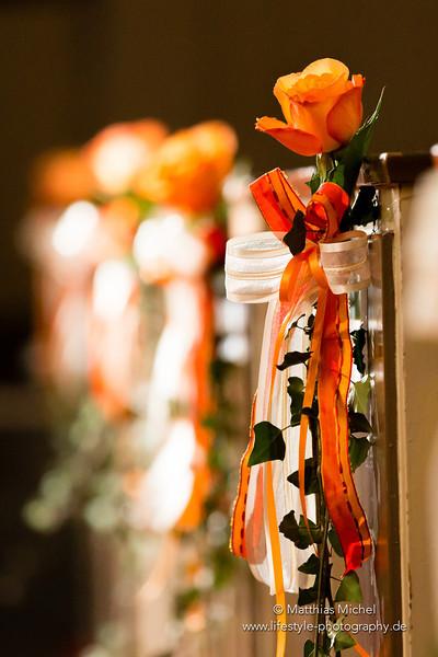 Kirchenschmuck bei einer Hochzeit in NRW