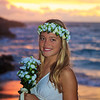 newlywed bride by the ocean at Eternity Beach  in Hawaii