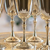 Silver goblets on a tray