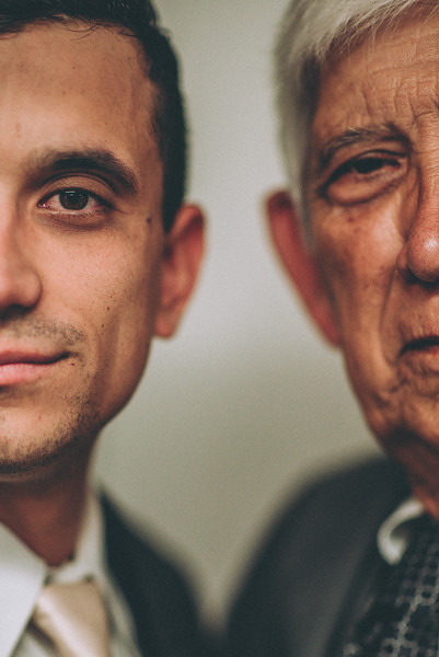Creative moody Father / son portrait on Sons wedding day at Sycamore Creek Vineyard, Gilroy, Ca.