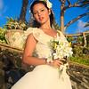 beautiful pacific island bride in her wedding attire at sunrise in hawaii