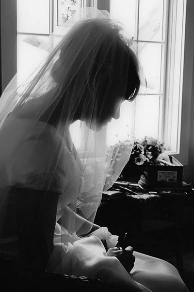 candid bride portrait